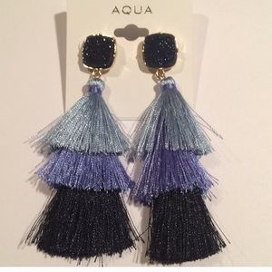 Aqua Fringe geode Earrings